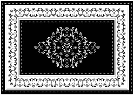 Vintage black frame with white oval ornament in the center of spiral twigs and white border with black pattern