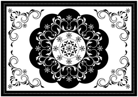 Vintage white frame with black wavy oval border and white pattern in the center of the spiral strips with leaves and black border with white beads