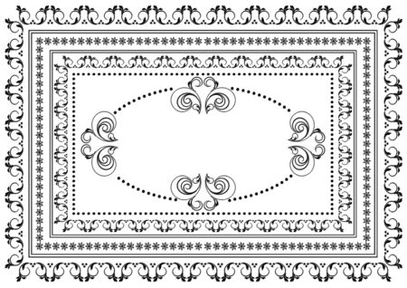 Vintage  black  frame with borders of swirling strips, leaves and stars with oval ornament in the center on a white background
