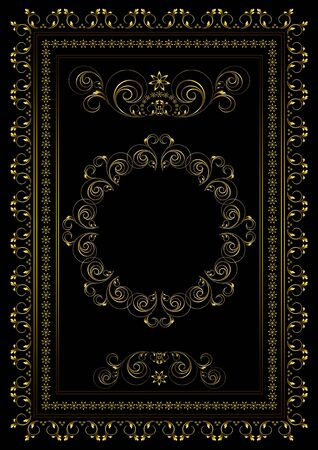Vintage  gold frame with borders of swirling strips, leaves and stars with oval ornament in the center on a black background