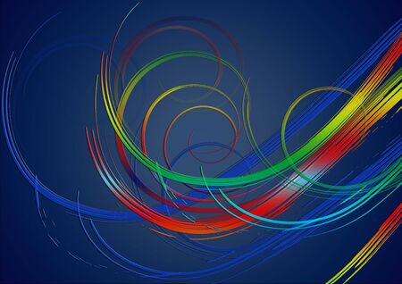 Blue gradient background covered with bright swirling stripes in red, yellow,green and ultramarine glowing shades