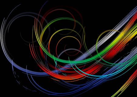 The black background is covered with bright swirling rainbow stripes in red, yellow, green and blue - ultramarine  shades