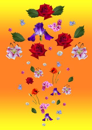 Bright orange - yellow background with a scattering of falling large and small lilies, red roses, purple irises, poppy, periwinkle, asters, Phlox and leaves