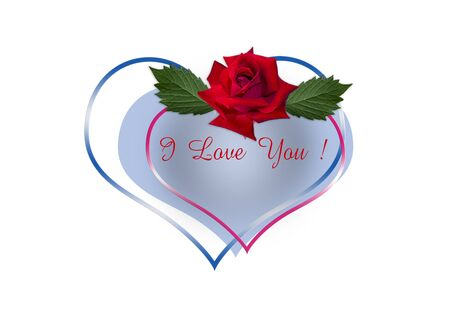 Red rose with leaves and the inscription I love You! on the frame-hearts of red and blue on a white background