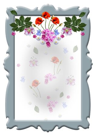 Bluish vintage curly frame with a garland of Lily flowers, poppies, periwinkle, Phlox with leaves and transparent small flowers on a white background