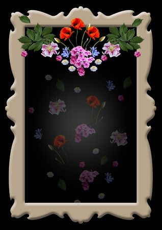 Beige vintage curly frame with a garland of Lily, poppy, periwinkle, Phlox flowers with leaves and transparent small flowers on a black background