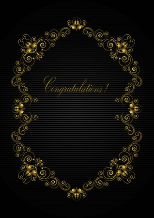 Gold antique calligraphic frame made of stylized flowers with swirls and beads and a  Congratulations a black striped background