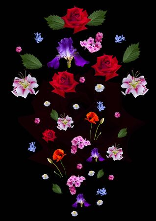 A scattering of falling large and small lilies, red roses, purple irises, poppy, periwinkle, asters, Phlox and leaves on a black background