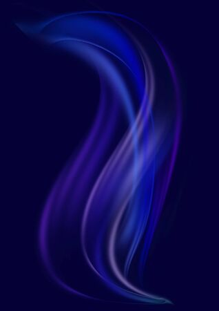 Abstract black background with swirling,convex blue and dark purple waves with blue stripes moving up
