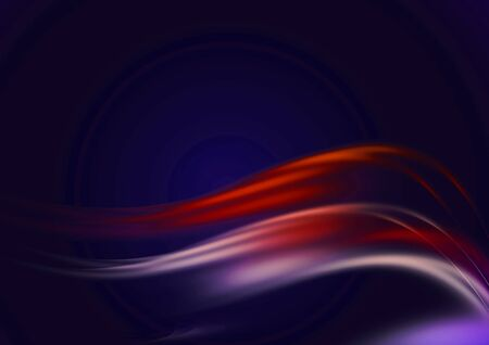 Abstract dark blue background with smooth convex flowing red, pink and white luminous waves