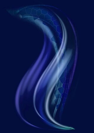 Abstract dark blue background with swirling,convex purple waves and blue waves covered with a mosaic grid moving up