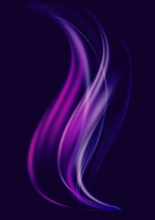Abstract dark blue background with wavy, convex purple and blue waves and white stripes moving up