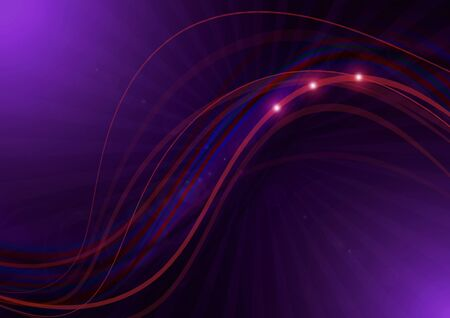 Red wavy thin stripes and a strip with glare intersect on a dark purple background with transparent purple rays and illuminated at the corners