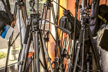 Yerevan, Armenia, September 16, 2015:Shop for photographers with a showcase of different tripods for cameras, bags with straps and reflectors on Mesrop Mashtots Avenue in Yerevan Éditoriale