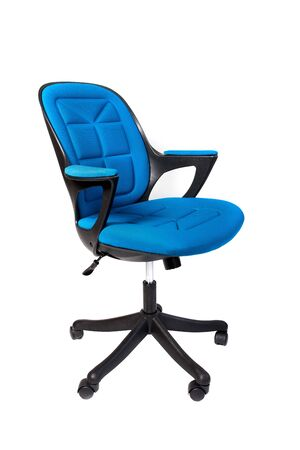 Blue office chair isolated on white background