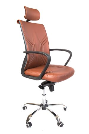 brown office chair isolated on white background