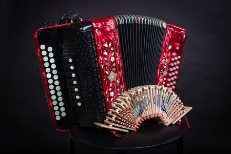 Russian folk musical instruments. Accordion and ratchets Stockfoto