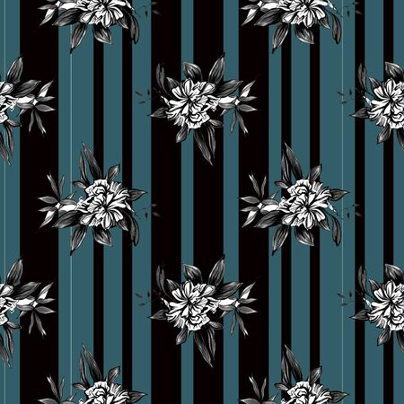 seamless pattern of flowers on a blue and black striped background. Retro design Stockfoto