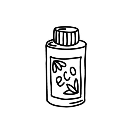 Hand-drawn eco bottle isolated on a white background. Vector illustration in the style of Organic cosmetics. Toiletries-shampoo, shower gel. Design for magazines, catalogs, and ads.