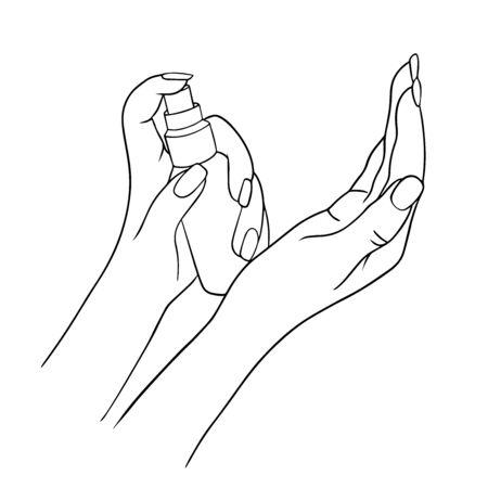 Désinfection des mains. Illustration vectorielle dessinée à la main. bouteille de gel d'alcool pour le nettoyage et la désinfection. Désinfectant pour presse à main. Illustration vectorielle. Traitement des mains contre le coronavirus.