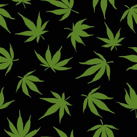 Seamless pattern of green cannabis leaves on a black background.Green hemp leaves on a black background.Vector