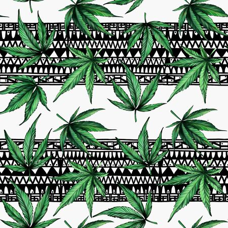 Seamless pattern of green cannabis on an abstract black and white background. The pattern of marijuana