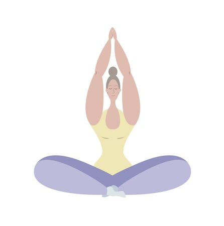 A woman meditates. A young girl meditates in the Lotus position. Yoga classes at home. Maintaining psychological health. Psychological balance. The positivity of the body. Stock fotó