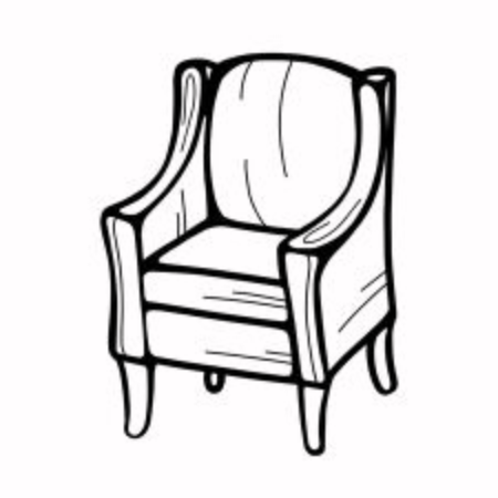 a hand-drawn chair or sofa isolated on a white background. Vector illustration in the Doodle style. Design for printing, banners, catalogs, and advertising