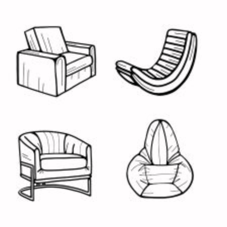 A set of hand-drawn armchairs or  sofa isolated on a white background. Vector illustration in the Doodle style. Design for printing, banners, catalogs, and advertising