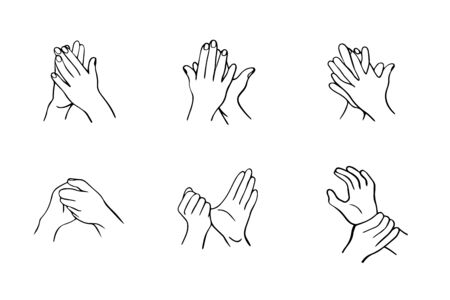 How to clean your hands properly. Rules for Disinfection and hand washing. The hygienic and medical treatment of an infection. Hand-drawn vector illustration in the Doodle style. Иллюстрация