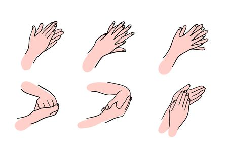 How to clean your hands properly Rules for Disinfection and hand washing.The hygienic and medical treatment of an infection. Hand-drawn vector illustration in the Doodle style.