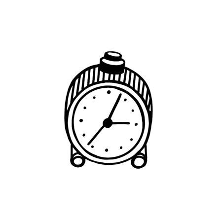 The alarm clock in the style of Doodle. Hand-drawn alarm clock. Clock. Isolated on a white background