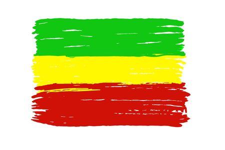 Rastafari flag isolated on a white background. The symbol of Rastafari.