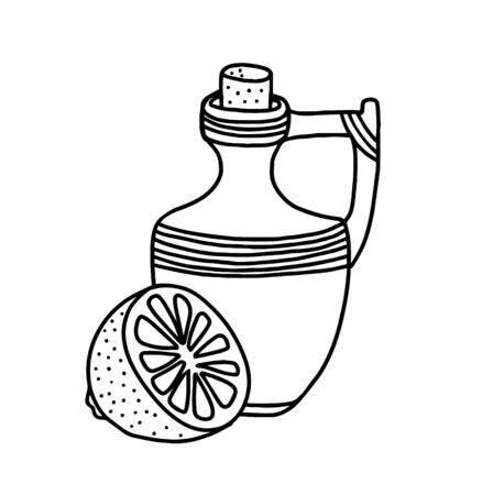 A pitcher of lemon is isolated on a white background. A vessel that looks like a scribbled bottle.