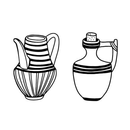 Two pitchers are isolated on a white background. The vessel is hand-drawn. Vector illustration