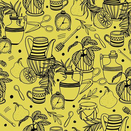 Seamless pattern with fruit, mug, jug, honey, alarm clock, scissors, spoon, home plant, wooden stick.