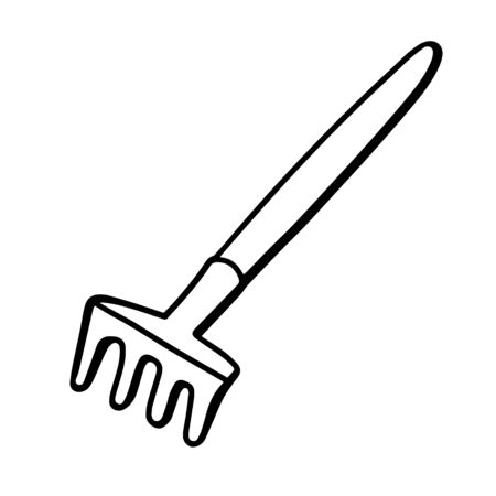 Garden rake isolated on white background. Rake for the garden. Tools for earthworks and plant transplants. Doodle style