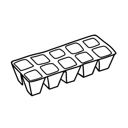 Peat pots for growing seedlings. Toff pots for seedlings. Gardening. Vector illustration in the Doodle style Иллюстрация