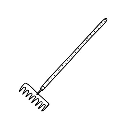 Garden rakes isolated on a white background. Rake for the garden.Tools for earthworks and territory cleaning. Vector illustration in Doodle style