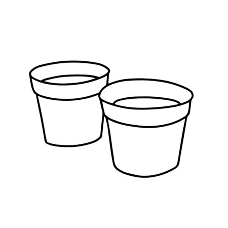 Pots for home plants isolated on a white background.Illustration with clay or peat pots on a white background. Plant for the room. Doodle style. Vector.