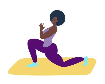 black girl doing yoga.Athletic girl trains at home or in the gym.Vector illustration in flat style.Healthy lifestyle, spiritual practice. Vector illustration Stock Illustratie