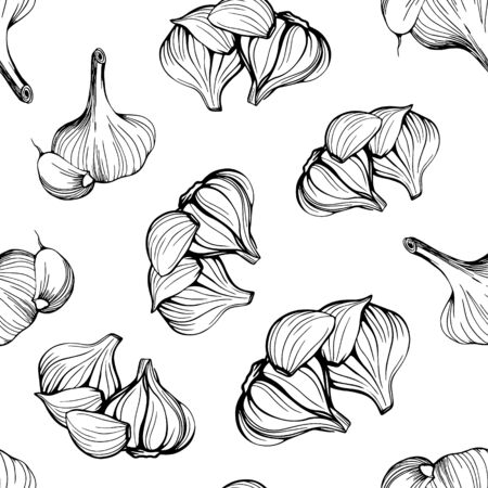 seamless pattern of garlic on a white background.A simple pattern of garlic.Hand-drawn vector illustration in the Doodle style. Head of garlic