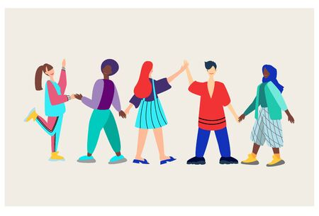 A group of young people of different nationalities who demonstrate romantic and sexual attraction to others. Bisexual, Polyamory, heterosexual, homosexual, lesbian. Non-traditional orientation.vector