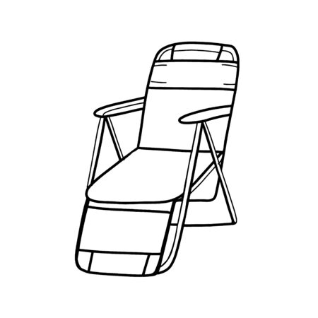 Foldable travel chair. Folding tourist chair for camping and fishing. Portable chair isolated on a white background. Vector illustration in til Doodle.