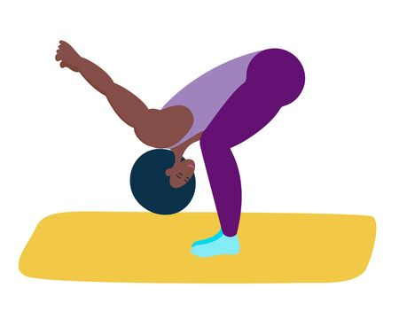 Yoga is done by a black girl.She lowered her head to her knees and stretched her arms out behind her.An athletic African-American woman does yoga.Healthy lifestyle, care for the health of the body