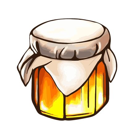 A jar of honey, isolated on a white background. Bee honey. Strengthening the immune system. Hand-drawn vector illustration in the Doodle style.