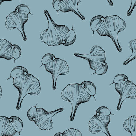 seamless pattern of garlic on a blue background.Garlic pattern for textile design, printing,and cooking blogs. vector