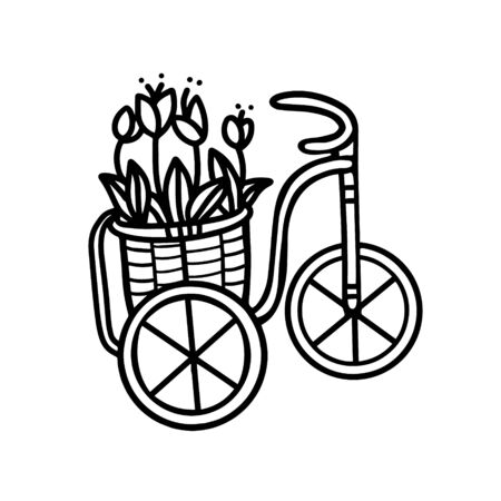 Garden decorative Bicycle flowerbed in the form of a flower bed. Tulips in a flower bed.Bicycle with flowers. Vector illustration in Doodle style Illusztráció