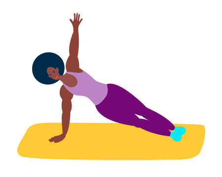 The black girl is engaged in fitness or yoga. An athletic African-American woman does yoga.Healthy lifestyle, care for the health of the body Çizim