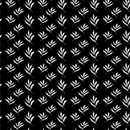 Seamless pattern in Scandinavian style. Pattern of white leaves on a black background. Black and white pattern Vectores